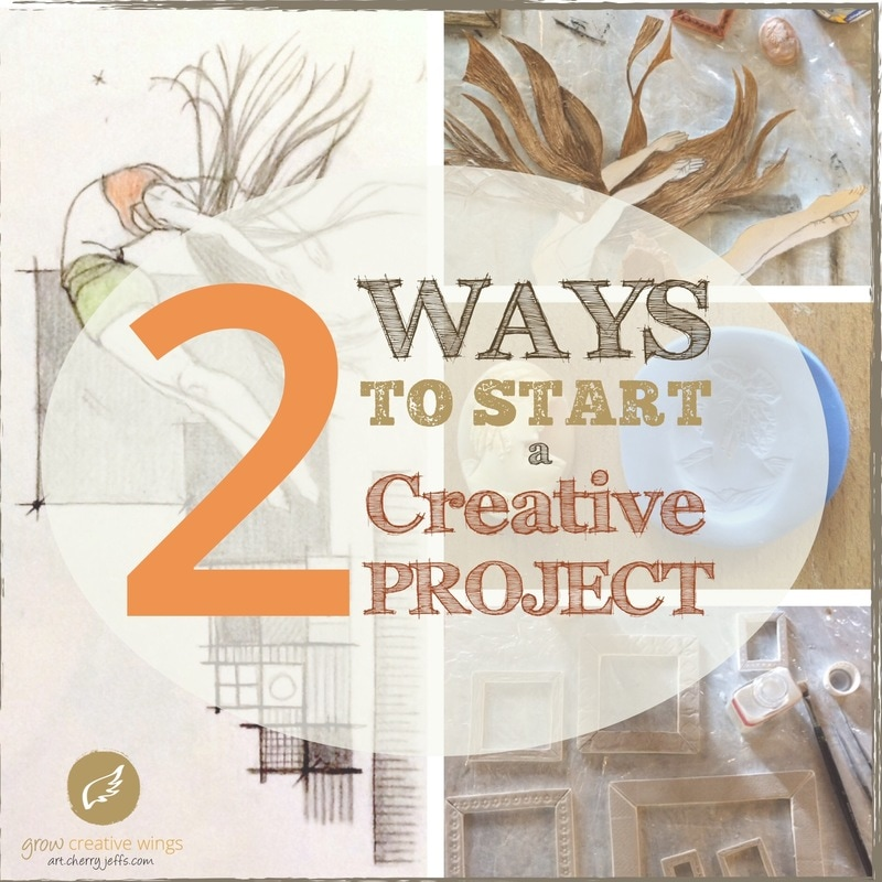 2 Ways to start a creative project - work in progress images for mixed-media piece