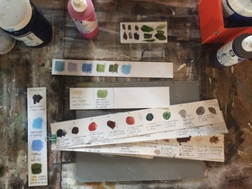 Picture: Making colour swatches in the studio
