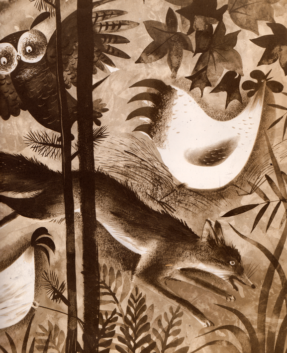 Sepia illustration of fox and chickens running