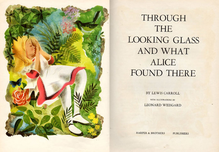 Frontspiece of Through the Looking Glass and What Alice Found There illustrated by Leonard Weisgard