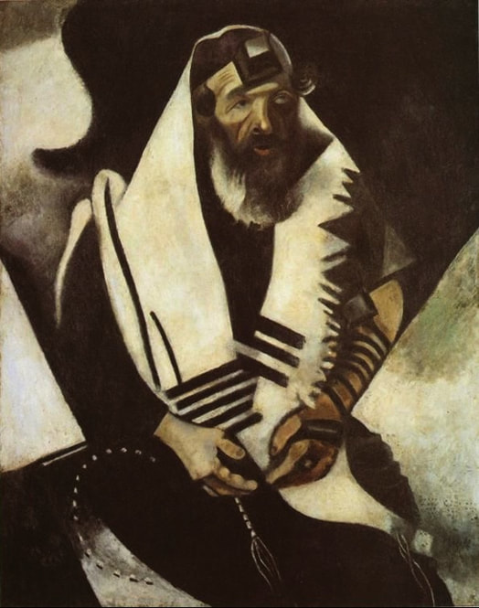 Fragmented painting of rabbi praying by Chagall