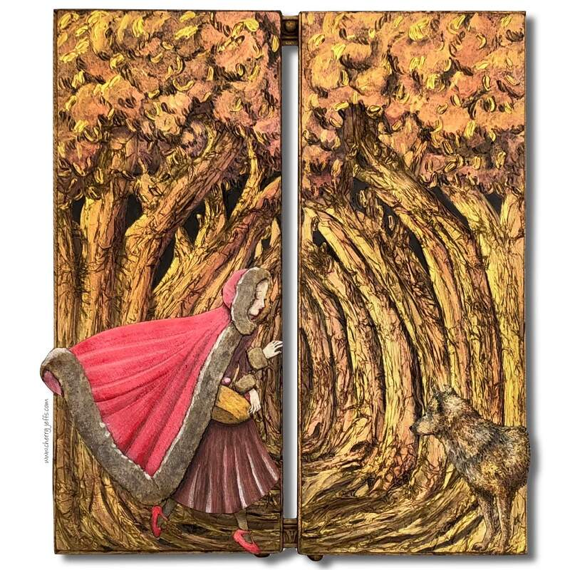 Front of artist's book triptych based on story of Red Riding Hood ​© Cherry Jeffs 2019