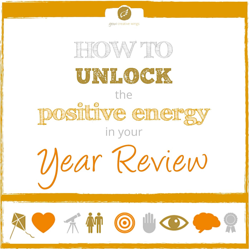 Assorted symbols with text: How to unlock the positive energy in your year review